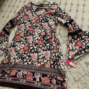 Floral Print Long Sleeve Xhilaration Dress Large